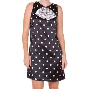 New Black & white polka dot with bow dress Small